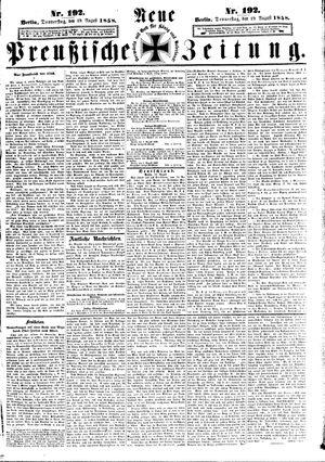 Neue preußische Zeitung vom 19.08.1858