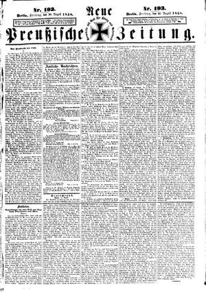 Neue preußische Zeitung vom 20.08.1858