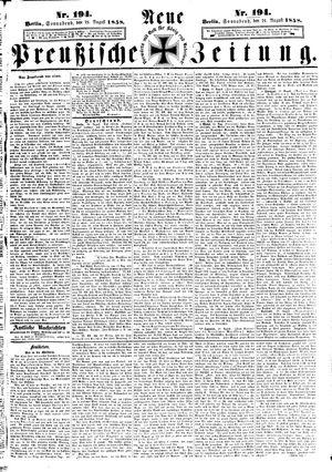 Neue preußische Zeitung vom 21.08.1858