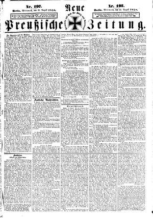 Neue preußische Zeitung vom 25.08.1858