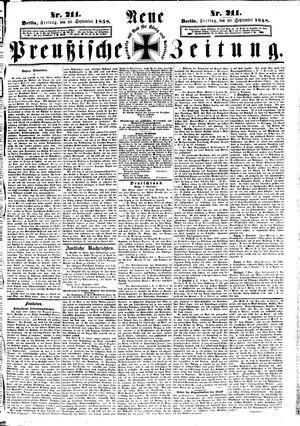 Neue preußische Zeitung vom 10.09.1858