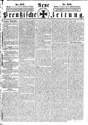 Neue preußische Zeitung vom 14.09.1858