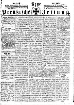 Neue preußische Zeitung vom 15.09.1858
