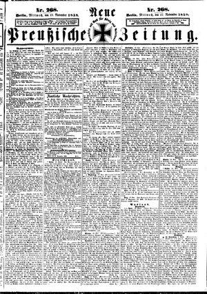 Neue preußische Zeitung vom 17.11.1858