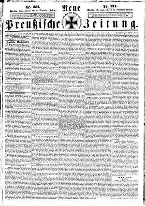 Neue preußische Zeitung vom 20.11.1858