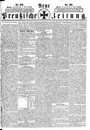 Neue preußische Zeitung vom 19.04.1859