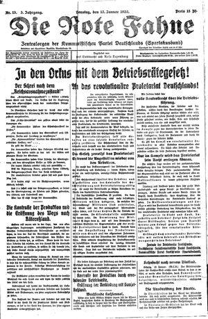 ˜Dieœ rote Fahne vom 13.01.1920