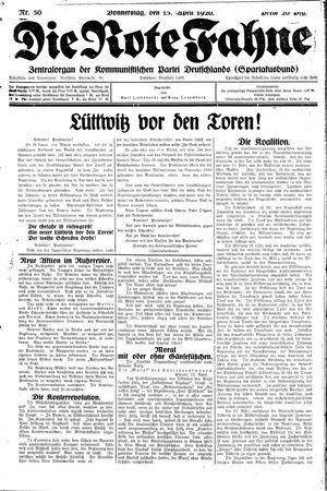 ˜Dieœ rote Fahne on Apr 15, 1920