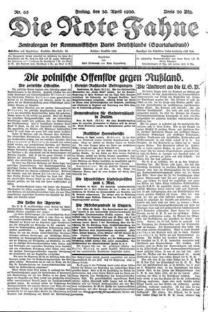 ˜Dieœ rote Fahne vom 30.04.1920