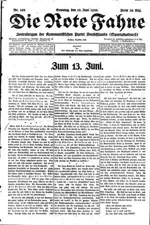 ˜Dieœ rote Fahne vom 13.06.1920