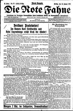 ˜Dieœ rote Fahne vom 14.01.1921