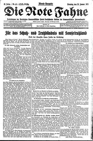 ˜Dieœ rote Fahne vom 25.01.1921