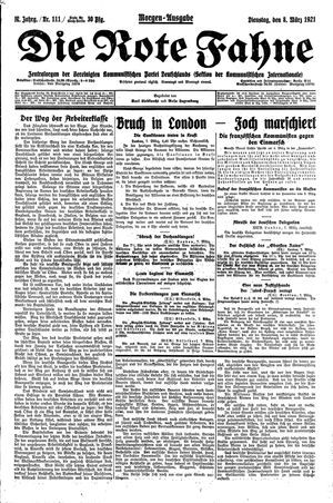 ˜Dieœ rote Fahne vom 08.03.1921