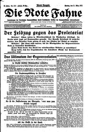 ˜Dieœ rote Fahne vom 21.03.1921
