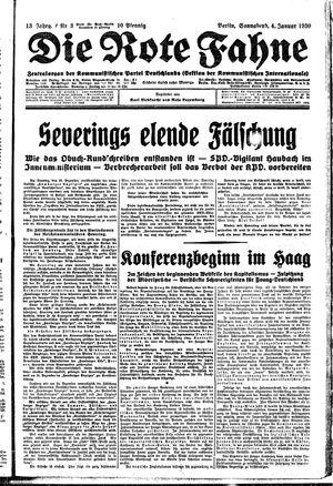 ˜Dieœ rote Fahne vom 04.01.1930