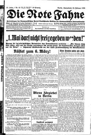 ˜Dieœ rote Fahne vom 22.02.1930