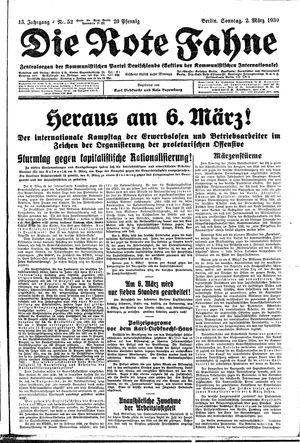 ˜Dieœ rote Fahne vom 02.03.1930