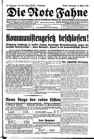 ˜Dieœ rote Fahne vom 19.03.1930