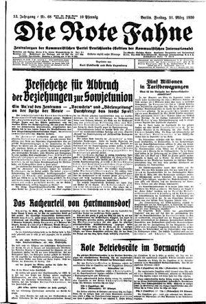˜Dieœ rote Fahne vom 21.03.1930