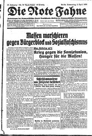 ˜Dieœ rote Fahne vom 03.04.1930