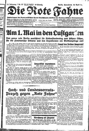 ˜Dieœ rote Fahne vom 12.04.1930