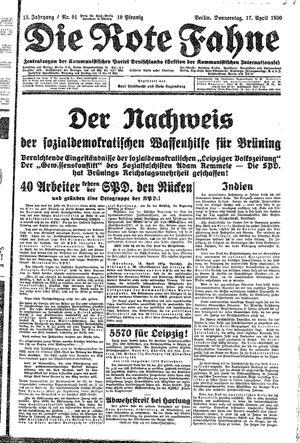 ˜Dieœ rote Fahne vom 17.04.1930