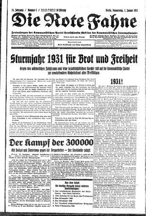 ˜Dieœ rote Fahne vom 01.01.1931