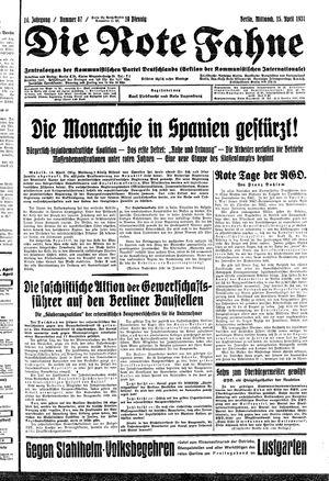 ˜Dieœ rote Fahne vom 15.04.1931