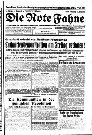 ˜Dieœ rote Fahne vom 16.04.1931