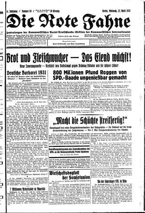 ˜Dieœ rote Fahne vom 22.04.1931