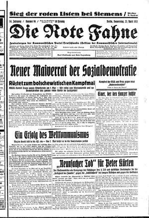 ˜Dieœ rote Fahne vom 23.04.1931