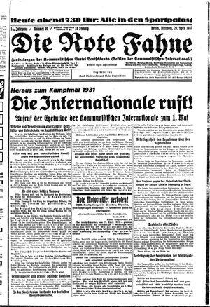 ˜Dieœ rote Fahne vom 29.04.1931