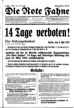 ˜Dieœ rote Fahne vom 07.05.1931