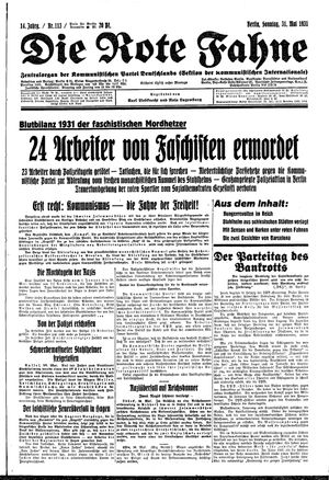 ˜Dieœ rote Fahne on May 31, 1931