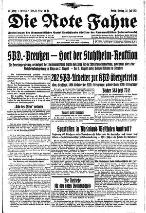 ˜Dieœ rote Fahne vom 31.07.1931