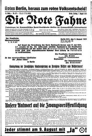 ˜Dieœ rote Fahne vom 07.08.1931