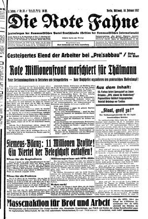 ˜Dieœ rote Fahne vom 10.02.1932
