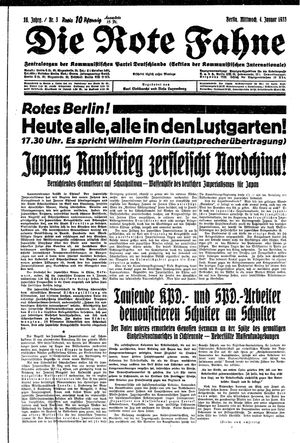 ˜Dieœ rote Fahne vom 04.01.1933