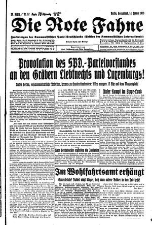 ˜Dieœ rote Fahne vom 14.01.1933