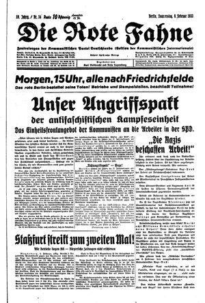 ˜Dieœ rote Fahne vom 09.02.1933