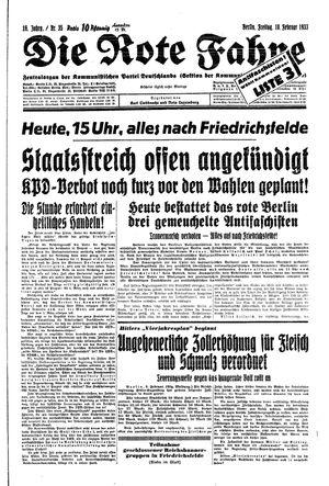 ˜Dieœ rote Fahne vom 10.02.1933