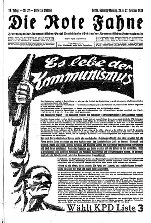 ˜Dieœ rote Fahne on Feb 26, 1933