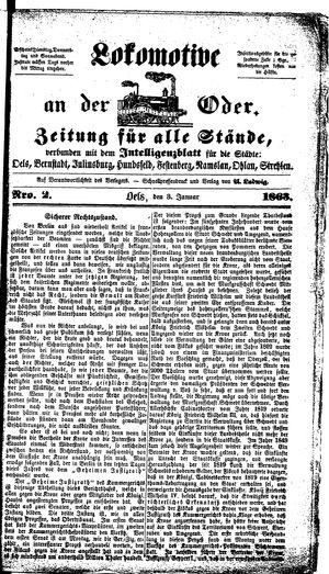 Lokomotive an der Oder vom 03.01.1863