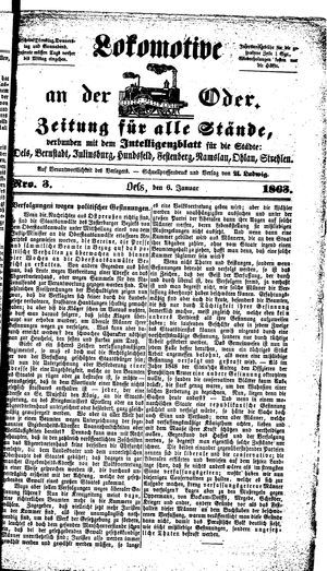Lokomotive an der Oder vom 06.01.1863