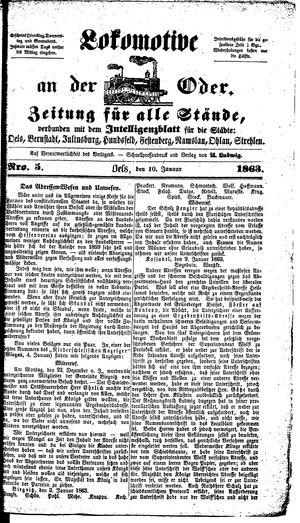 Lokomotive an der Oder vom 10.01.1863