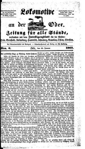 Lokomotive an der Oder vom 13.01.1863