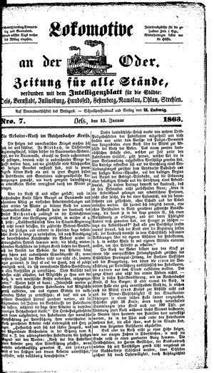 Lokomotive an der Oder vom 15.01.1863