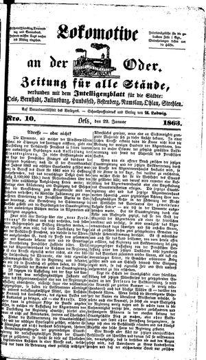 Lokomotive an der Oder vom 22.01.1863