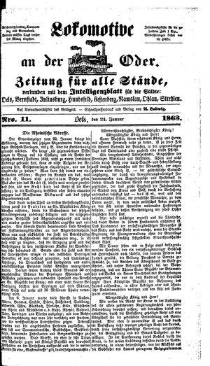 Lokomotive an der Oder vom 24.01.1863
