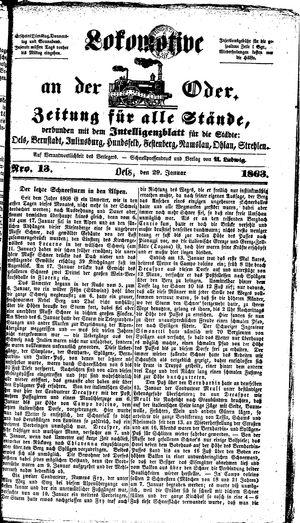 Lokomotive an der Oder vom 29.01.1863